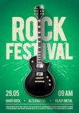 Διανυσματική ιπτάμενο κομμάτων συναυλίας φεστιβάλ βράχου απεικόνισης ή posterdesign πρότυπο με την κιθάρα, θέση για το κείμενο κα διανυσματική απεικόνιση