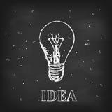 Διανυσματική ιδέα σκίτσων με το λαμπτήρα στο μαύρο πίνακα κιμωλίας διανυσματική απεικόνιση