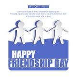 Διανυσματική κάρτα απεικόνισης με το ζωηρόχρωμο κείμενο για την ημέρα φιλίας Στοκ Εικόνα