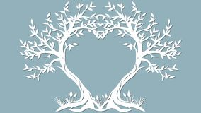Διανυσματική κάρτα απεικόνισης Πρόσκληση και ευχετήρια κάρτα με τα δέντρα υπό μορφή καρδιάς Σχέδιο για την περικοπή λέιζερ, ελεύθερη απεικόνιση δικαιώματος