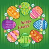 Διανυσματική κάρτα αυγών Πάσχας Πάσχα ευτυχές Στοκ Φωτογραφίες