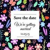 Διανυσματική κάρτα γαμήλιας πρόσκλησης Στοκ Εικόνες