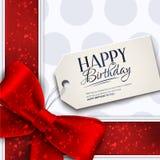 Διανυσματική κάρτα γενεθλίων με την κόκκινη κορδέλλα και τα γενέθλια ελεύθερη απεικόνιση δικαιώματος