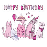 Διανυσματική κάρτα γενεθλίων με τις αστείες γάτες Στοκ εικόνα με δικαίωμα ελεύθερης χρήσης