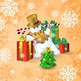 Διανυσματική κάρτα για τα Χριστούγεννα ή το νέο έτος Χορεύοντας χιονάνθρωπος σε ένα χρυσά τοπ καπέλο και ένα γιλέκο, με ένα ραβδί Στοκ Φωτογραφία