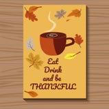 Διανυσματική κάρτα για την ημέρα των ευχαριστιών με ένα φλυτζάνι του ζεστού ποτού επίσης corel σύρετε το διάνυσμα απεικόνισης απεικόνιση αποθεμάτων