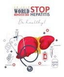 Διανυσματική κάρτα ημέρας παγκόσμιας ηπατίτιδας στο σύγχρονο επίπεδο σχέδιο στο άσπρο υπόβαθρο 28 Ιουλίου Στοκ Εικόνες