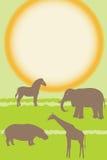 Διανυσματική κάρτα με τα αφρικανικά ζώα Στοκ φωτογραφία με δικαίωμα ελεύθερης χρήσης