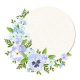 Διανυσματική κάρτα με τα μπλε και πορφυρά pansy και forget-me-not λουλούδια Eps-10 διανυσματική απεικόνιση