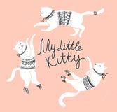 Διανυσματική κάρτα με τις χαριτωμένες άσπρες γάτες και μοντέρνος γράφοντας το «μικρό γατάκι μου» ελεύθερη απεικόνιση δικαιώματος