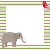 Διανυσματική κάρτα με τον ελέφαντα και τον παπαγάλο Στοκ φωτογραφία με δικαίωμα ελεύθερης χρήσης