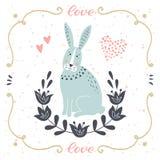 Διανυσματική κάρτα με το χαριτωμένο λαγουδάκι Κάρτα με το κείμενο αγάπης animal cartoon funny απεικόνιση αποθεμάτων