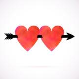 Διανυσματική κάρτα με χρωματισμένες τις watercolour καρδιές Στοκ Εικόνα