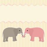 Κάρτα δύο ελεφάντων Στοκ Εικόνα