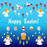 Διανυσματική κάρτα Πάσχας με τους αγγέλους Στοκ Φωτογραφία