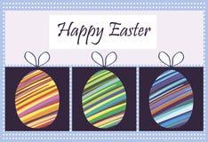 Ευτυχές Πάσχα και μια εικόνα των αυγών που συσκευάζονται με τα τόξα Στοκ εικόνα με δικαίωμα ελεύθερης χρήσης