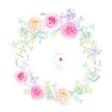 Διανυσματική κάρτα στεφανιών Peonies και γάμου τριαντάφυλλων Στοκ Φωτογραφία