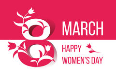Διανυσματική κάρτα στις 8 Μαρτίου ημέρας των ευτυχών γυναικών διανυσματική απεικόνιση