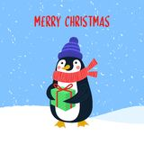 Διανυσματική κάρτα Χαρούμενα Χριστούγεννας με το χαριτωμένο penguin στα χειμερινά ενδύματα με το κιβώτιο δώρων στοκ φωτογραφίες με δικαίωμα ελεύθερης χρήσης