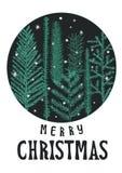 Διανυσματική κάρτα Χριστουγέννων απεικόνισης, χαιρετισμός Χριστουγέννων Στοκ εικόνα με δικαίωμα ελεύθερης χρήσης