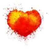 Διανυσματική καθιερώνουσα τη μόδα καρδιά παφλασμών χρωμάτων watercolor grunge Στοκ Φωτογραφία