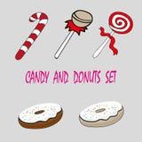 Διανυσματική καθορισμένη καραμέλα γλυκών στοιχείων τροφίμων σχεδίου και donuts Στοκ φωτογραφία με δικαίωμα ελεύθερης χρήσης