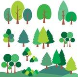 Διανυσματική καθορισμένη τέχνη συνδετήρων δέντρων και πεύκων Στοκ εικόνες με δικαίωμα ελεύθερης χρήσης