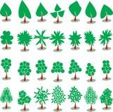 Διανυσματική καθορισμένη τέχνη συνδετήρων δέντρων και πεύκων Στοκ Εικόνα