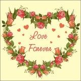 Διανυσματική καρδιά πλαισίων τριαντάφυλλων - αγάπη για πάντα ελεύθερη απεικόνιση δικαιώματος