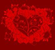 Διανυσματική καρδιά με το κόκκινο floral υπόβαθρο Στοκ φωτογραφία με δικαίωμα ελεύθερης χρήσης
