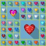 Διανυσματική καρδιά πολύτιμων λίθων Στοκ Εικόνες