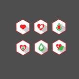 Διανυσματική καρδιά, φύλλο, πράσινος, πτώσεις, οργανικά, φυσικά, εικονίδια της βιολογίας, υγείας και wellness καθορισμένες Στοκ φωτογραφία με δικαίωμα ελεύθερης χρήσης