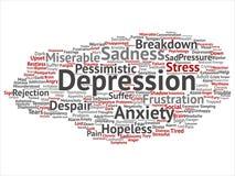 Διανυσματική κατάθλιψη ή διανοητικό συναισθηματικό σύννεφο υπόβαθρο λέξης προβλήματος αναταραχής αφηρημένο απομονωμένο κολάζ διανυσματική απεικόνιση