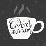 Διανυσματική καλημέρα εγγραφής με ένα φλυτζάνι του τσαγιού/του καφέ Στοκ εικόνα με δικαίωμα ελεύθερης χρήσης
