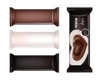 Διανυσματική κενή συσκευασία τροφίμων για το μπισκότο, γκοφρέτα, κροτίδες, γλυκά, φραγμός σοκολάτας, φραγμός καραμελών, πρόχειρα  Στοκ Εικόνες