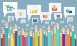 Διανυσματική κοινωνική επιχειρησιακή επικοινωνία ελεύθερη απεικόνιση δικαιώματος