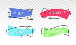 Διανυσματική κορδέλλα ετικεττών εμβλημάτων promo έκπτωσης πώλησης διανυσματική απεικόνιση