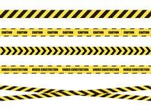 Διανυσματική κορδέλλα σημαδιών κινδύνου, ταινία που απομονώνεται στο άσπρο υπόβαθρο, ο Μαύρος και κίτρινος στοκ φωτογραφία