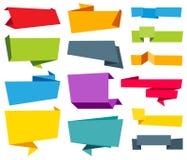 Διανυσματική κορδέλλα ετικετών εμβλημάτων Origami Στοκ Εικόνες