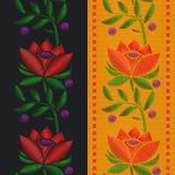 Διανυσματική κορδέλλα σχεδίων απεικονίσεων άνευ ραφής με την κόκκινη κεντητική τριαντάφυλλων λουλουδιών στο υφαντικό υπόβαθρο Στοκ εικόνες με δικαίωμα ελεύθερης χρήσης