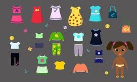 Διανυσματική κούκλα εγγράφου με τα ενδύματα για τα παιχνίδια των παιδιών διανυσματική απεικόνιση