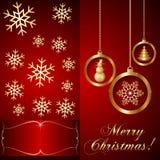 Διανυσματική κόκκινη κάρτα πρόσκλησης Χριστουγέννων Στοκ εικόνες με δικαίωμα ελεύθερης χρήσης