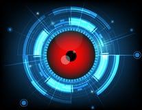 Διανυσματική κόκκινη μελλοντική τεχνολογία βολβών του ματιού στο μπλε υπόβαθρο Στοκ φωτογραφία με δικαίωμα ελεύθερης χρήσης