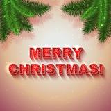 Διανυσματική κόκκινη παρούσα κάρτα Χριστουγέννων με τους κλάδους δέντρων έλατου Στοκ Εικόνα