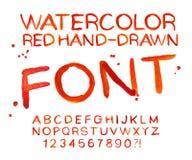 Διανυσματική κόκκινη πηγή watercolor, χειρόγραφες επιστολές Abc Στοκ εικόνες με δικαίωμα ελεύθερης χρήσης