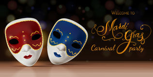 Διανυσματική μάσκα καρναβαλιού με την εγγραφή Πρόσκληση σε καρναβάλι με το ζωηρόχρωμο λαμπρό υπόβαθρο Ελεύθερη απεικόνιση δικαιώματος
