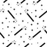 Διανυσματική μαγική ράβδος με το μαγικό υπόβαθρο σχεδίων αστεριών άνευ ραφής Στοκ Εικόνες