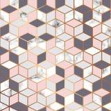 Διανυσματική μαρμάρινη σύσταση, άνευ ραφής σχέδιο σχεδίων με το χρυσό γεωμετρικό σχέδιο κύβων, γραπτή marbling επιφάνεια απεικόνιση αποθεμάτων