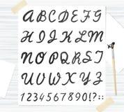 Διανυσματική μαύρη πηγή watercolor, χειρόγραφες επιστολές Abc Στοκ εικόνα με δικαίωμα ελεύθερης χρήσης