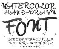 Διανυσματική μαύρη πηγή watercolor Χειρόγραφες επιστολές Watercolour Στοκ φωτογραφία με δικαίωμα ελεύθερης χρήσης